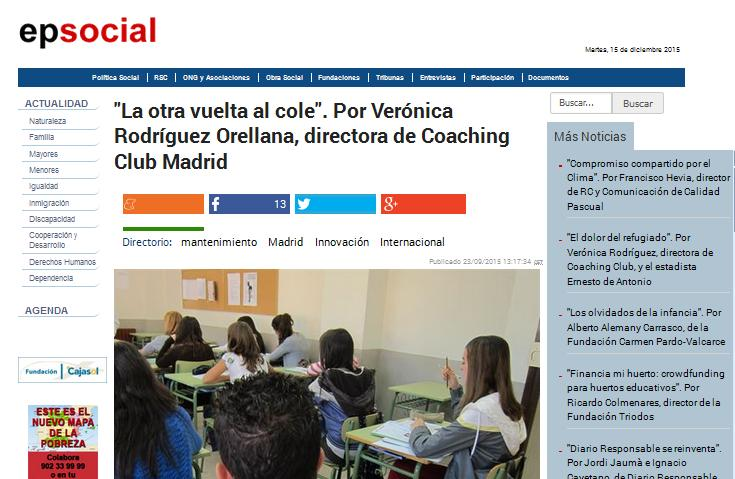 EUROPA PRESS: La otra vuelta al cole