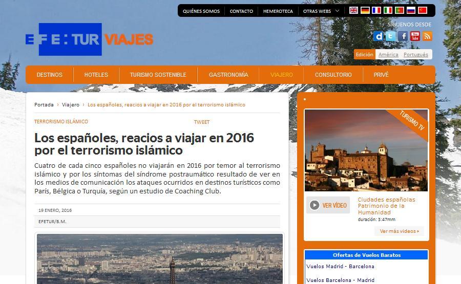 EFETUR: Los españoles, reacios a viajar en 2016 por el terrorismo islámico