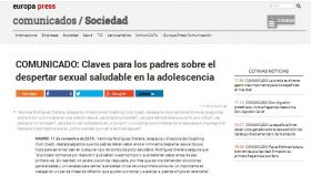 EUROPA PRESS: Claves para los padres sobre el despertar sexual saludable en la adolescencia