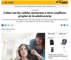 El País: Lidiar con las salidas nocturnas y otros conflictos propios de la adolescencia