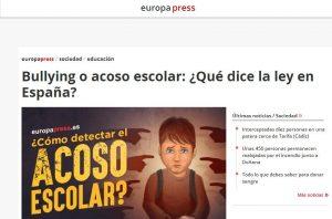 europapress: Bullying o acoso escolar: ¿Qué dice la ley en España?