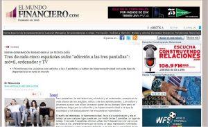 """EL MUNDO FINANCIERO: Tres de cada cinco españoles sufre """"adicción a las tres pantallas"""": móvil, orde"""