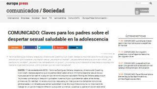 EUROPA PRESS: Claves para los padres sobre el despertar sexual saludable en la adolescencia