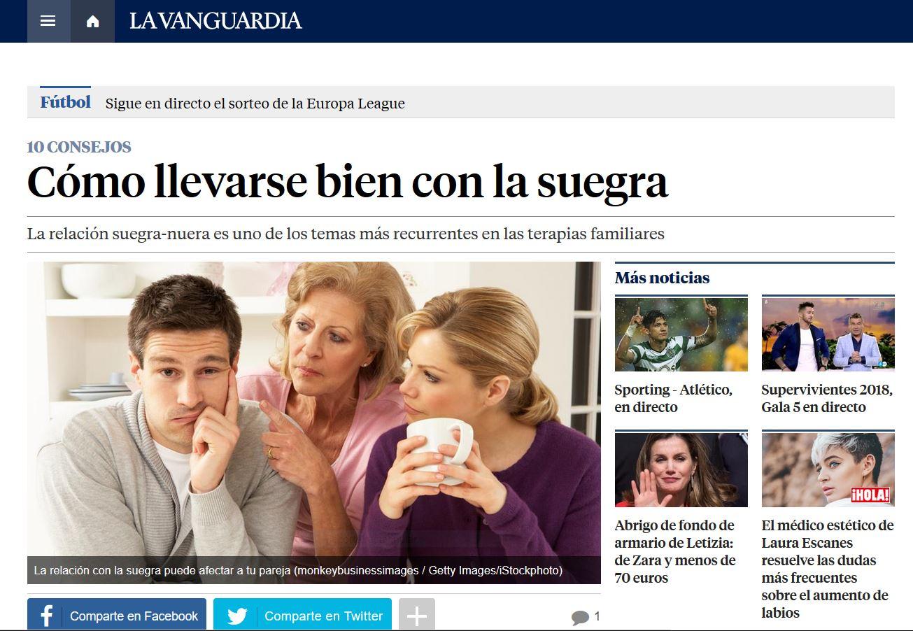La Vanguardia: Cómo llevarse bien con la suegra