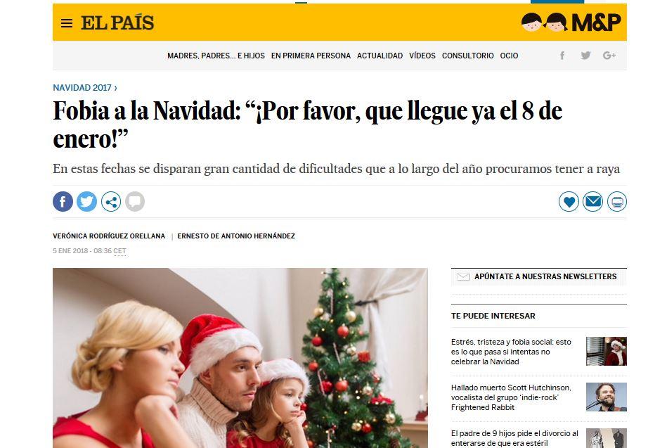 """EL PAÍS: Fobia a la Navidad: """"¡Por favor, que llegue ya el 8 de enero!"""""""