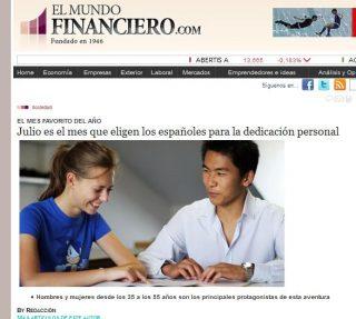 EL MUNDO FINANCIERO: Julio es el mes que eligen los españoles para la dedicación personal