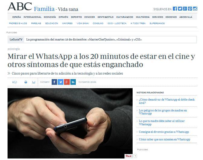 ABC: Mirar el WhatsApp a los 20 minutos de estar en el cine