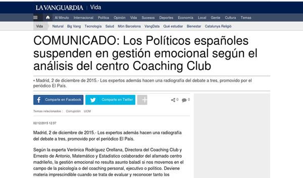 LA VANGUARDIA: Los Políticos españoles suspenden en gestión emocional según el análisis del