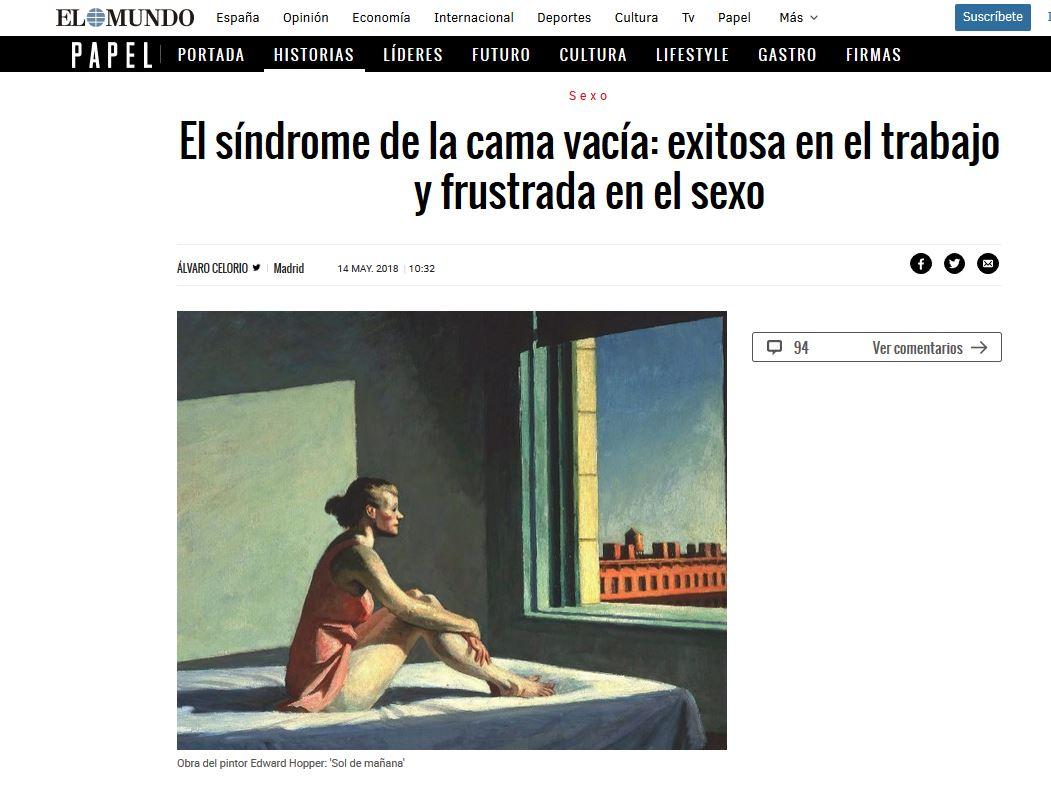 El MUNDO: El síndrome de la cama vacía: exitosa en el trabajo y frustrada en el sexo