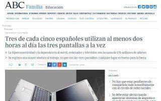 ABC: Tres de cada cinco españoles utilizan al menos dos horas al día las tres pantallas a la vez